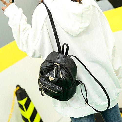 Bag Girl Women Style Bag Black Solid Shoulder Small Preppy Bag Backpack School Leather Zipper Fashion YxTZqOfwH