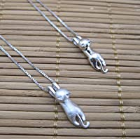 Us-DeSiGn : Sterling 925 silver climbing cat necklace two option matt or glossy surface pendant hand crafted silver jewelry