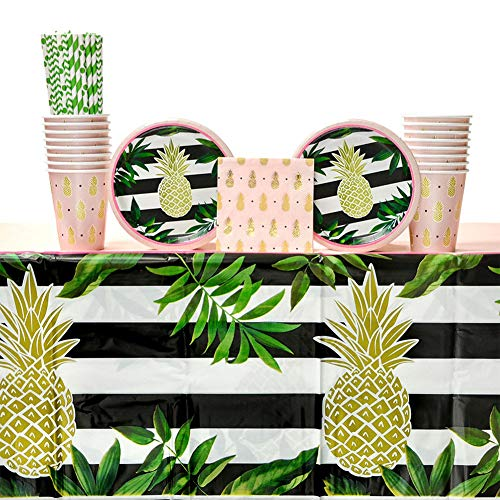 (Pineapple Wedding Party Supplies Pack for 16 Guests: Straws, Dessert Plates, Beverage Napkins, Table Cover, and)