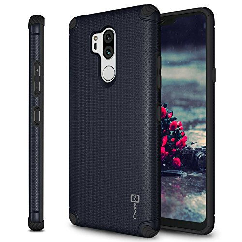 (LG G7 ThinQ Case, CoverON Bios Series Minimalist Thin Fit Protective Hard Phone Cover with Embedded Metal Plate for Magnetic Car Mounts for LG G7 ThinQ - Navy)