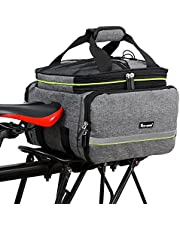 Bicycle Rear Pannier Bag Waterproof, 10-25L Multi-Function Large Capacity Detachable Bicycle Tail Seat Trunk Bag Handbag Shoulder Strap, Cycling Luggage Rack Package with Rainproof Cover 3 Colors