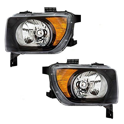 Driver and Passenger Halogen Combination Headlights with Chrome Bezels Replacement for 2003-2008 Honda Element EX LX 33151SCVA01 33101SCVA01