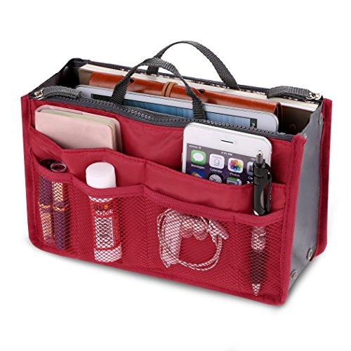 Women Cosmetic Multifunction Travel Pouch Storage Storage Organizer Purse Insert Makeup Purse Handbag Red Toiletry ZqwZgUxR