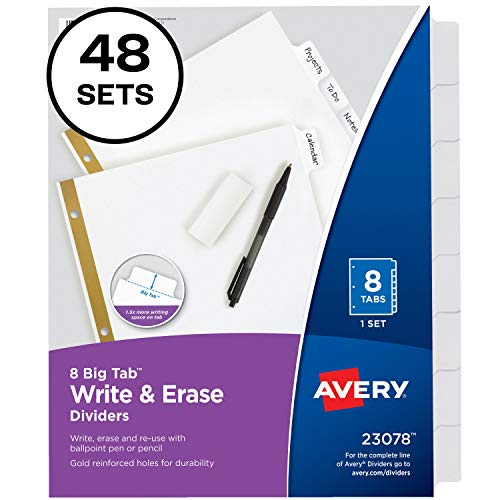 Avery 8-Tab Binder Dividers, Write & Erase White Big Tabs, 48 Sets - Tab 8 Pack