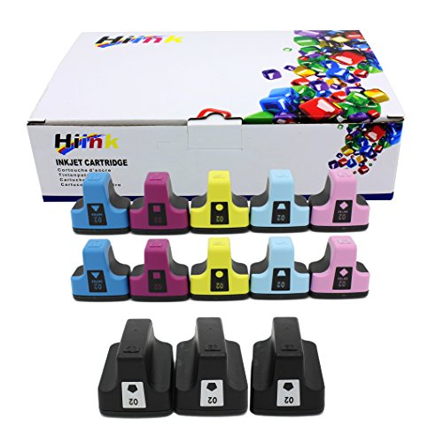 (HIINK Remanufactured Ink Cartridge Replacement for HP 02 Ink Cartridges(3Black, 2Cyan, 2Magenta, 2Yellow, 2 Lt.Cyan, 2 Lt.Magenta. 13-Pack))