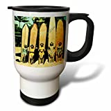 3dRose 5 Vintage Ladies in Hawaii with Surf Boards Stainless Steel Travel Mug, 14-Ounce