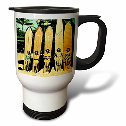 3dRose 5 Vintage Ladies in Hawaii with Surf Boards Stainless Steel Travel Mug, 14-Ounce by 3dRose