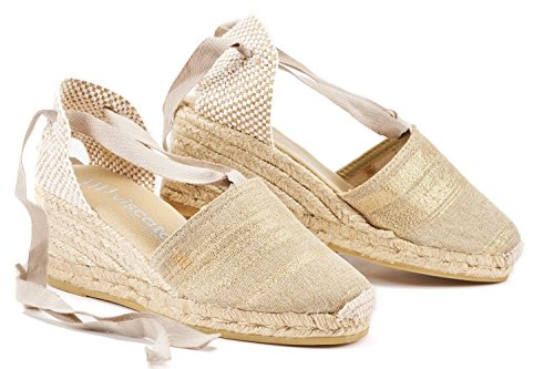 "VISCATA Escala 2.5"" Wedge, Soft Ankle-Tie, Closed Toe, Classic Espadrilles Heel Made in Spain Gold"