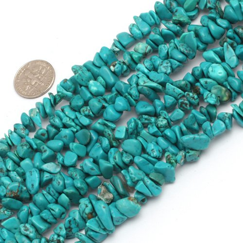 SHG Store 7-8mm Freeform Chips Gemstone Turquoise Beads Strand 15 Inch Agate Chips for Bracelet Necklace Earrings Jewelry Making Crafts Design Healing Wholesale Loose Beads (Chip Turquoise)