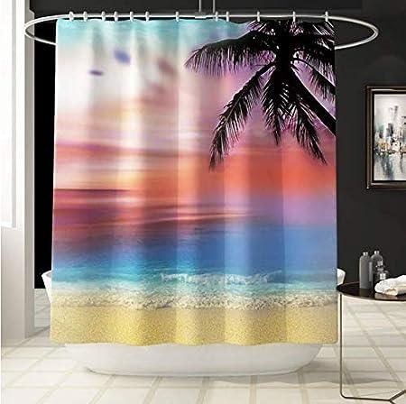 DHLZ Mamparas de baño Baño Cortinas de Ducha Paisaje Sunset Sea Beach Cortina de impresión Decoración de Regalo Cortina de Ducha Set con Ganchos 180 * 180Cm: Amazon.es: Hogar