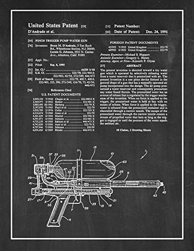 "Pinch Trigger Pump Water Gun Patent Print Chalkboard with Border (16"" x 20"") M10590"