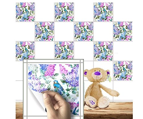 Flowers Pearl Film Tile Stickers Bathroom Living Room Waterproof PVC Wall Stickers by ShopIdea