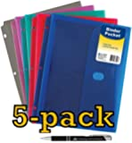 C-Line Super Heavyweight Poly Binder Pocket with Velcro Closure, 1-Inch Gusset, Letter Size, Pack of 5, Assorted Colors, One of each Blue, Aqua, Purple, Pink and Smoke (58730) with Custom Advantage Retractable Chrome and Black Pen