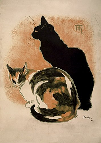 (Two Cats by Theophile-Alexandre Steinlen Art Print, 21 x 30 inches )