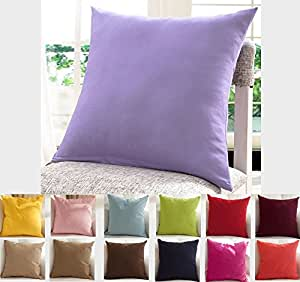 """TangDepot Cotton Solid Throw Pillow Covers, 16"""" x 16"""" , Light Purple Lavende"""