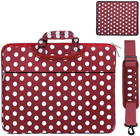 15-15.6 inch Laptop Case Shoulder Bag & Mouse Pad 2 in 1 Set, Fashionable Messenger Handbag, Upgrade Protection Ultrabook Sleeve Notebook Computer Carrying Briefcase (Red Base White Dots)