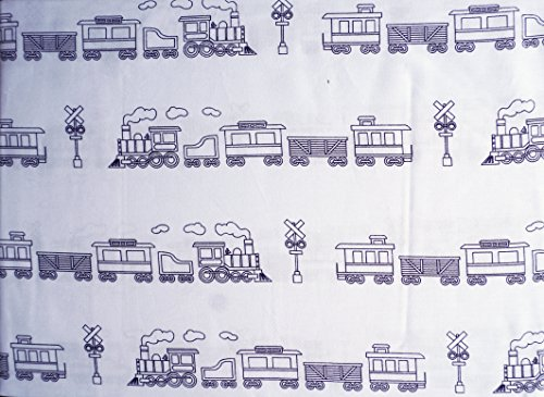 ce Twin Single Bed Sheet Set Trains Cabooses Box Cars Railroads Black on White (Train Car Boxcar)