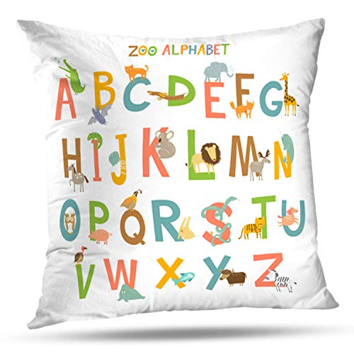LALILO Throw Pillow CoversCute Zoo Alphabet with Animals Child Animal Cartoon Double-Sided Pattern for Sofa Cushion Cover Couch Decoration Home Bed Pillowcase 18x18 inch