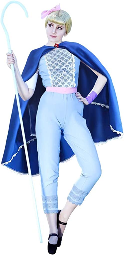 Womens Peep Bo Costume Light Blue Suit Deluxe Cape Adult Halloween Cosplay