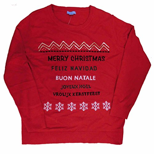 Laura Scott Women Red Merry Christmas Multi Language Holiday Sweater Pullover XL Multi Language Merry Christmas