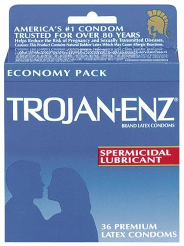 Trojan-Enz Latex Condoms, Spermicidal Lubricant, 36-Count Boxes (Pack of (Trojan Spermicidal Lubricant)