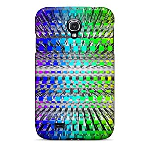 EmptySpiral Scratch-free Phone Case For Galaxy S4- Retail Packaging - Rainbow Grid