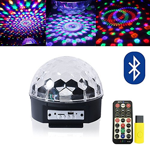 IHOVEN 9 Colors Changing DJ Stage Lights Bluetooth Speaker Rotating Magic Effect Disco Strobe Stage Ball Light with (Disco Light Bluetooth Speaker)