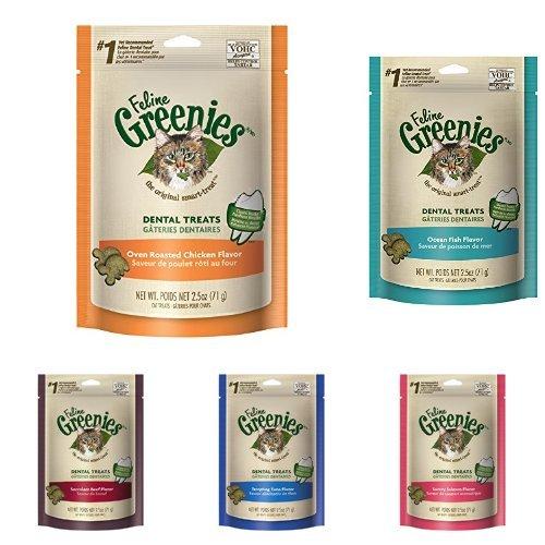 Feline Greenies Dental Cat Treats Variety 6 Pack