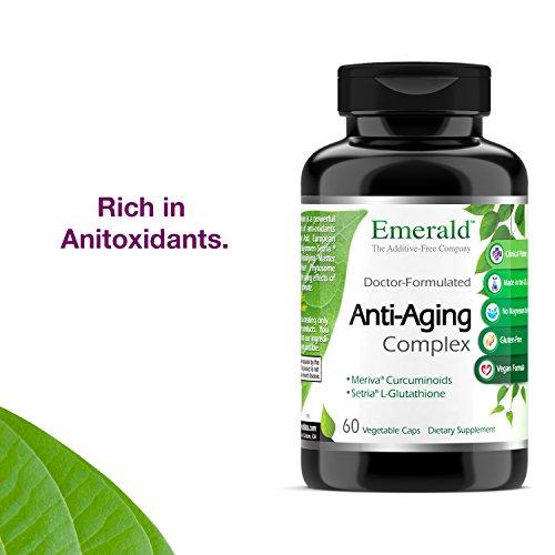 51 krMWrnAL - Anti-Aging Complex - with L-Glutathione, Resveratrol, CoQ10, R-Alpha Lipoic Acid, Meriva, Pomegranate, & More - Emerald Laboratories (Rainforest) - 60 Vegetable Capsules