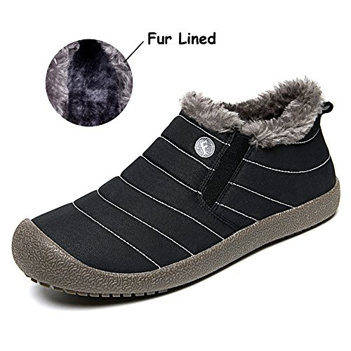 Mens Womens Snow Boots Winter Ankle Bootie Fully Fur Lined Anti-Slip Outdoor Slip On (Black, 39) (Mens Stripe Boots Side)