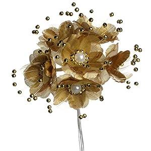 Party Favors Plus 36 Wedding Bridal Pearl Satin Organza Flower Favor Pick - Gold 5