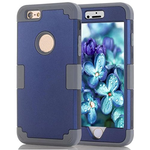 GBSELL for iphone 6 Plus 5.5Inch Rubber Case Cover,with Hybrid Impact Shockproof Pattern (Navy)