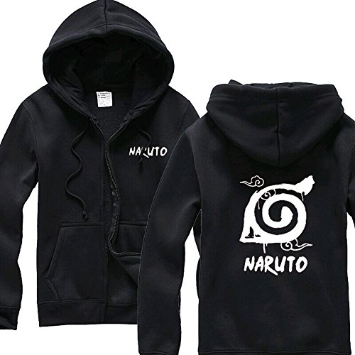 UU-Style Naruto Shippuden Distressed Leaves Symbol Crewneck Sweatshirt Hoodie Plus Velvet Zip Outwear Jacket (Naruto Shippuden Jacket)