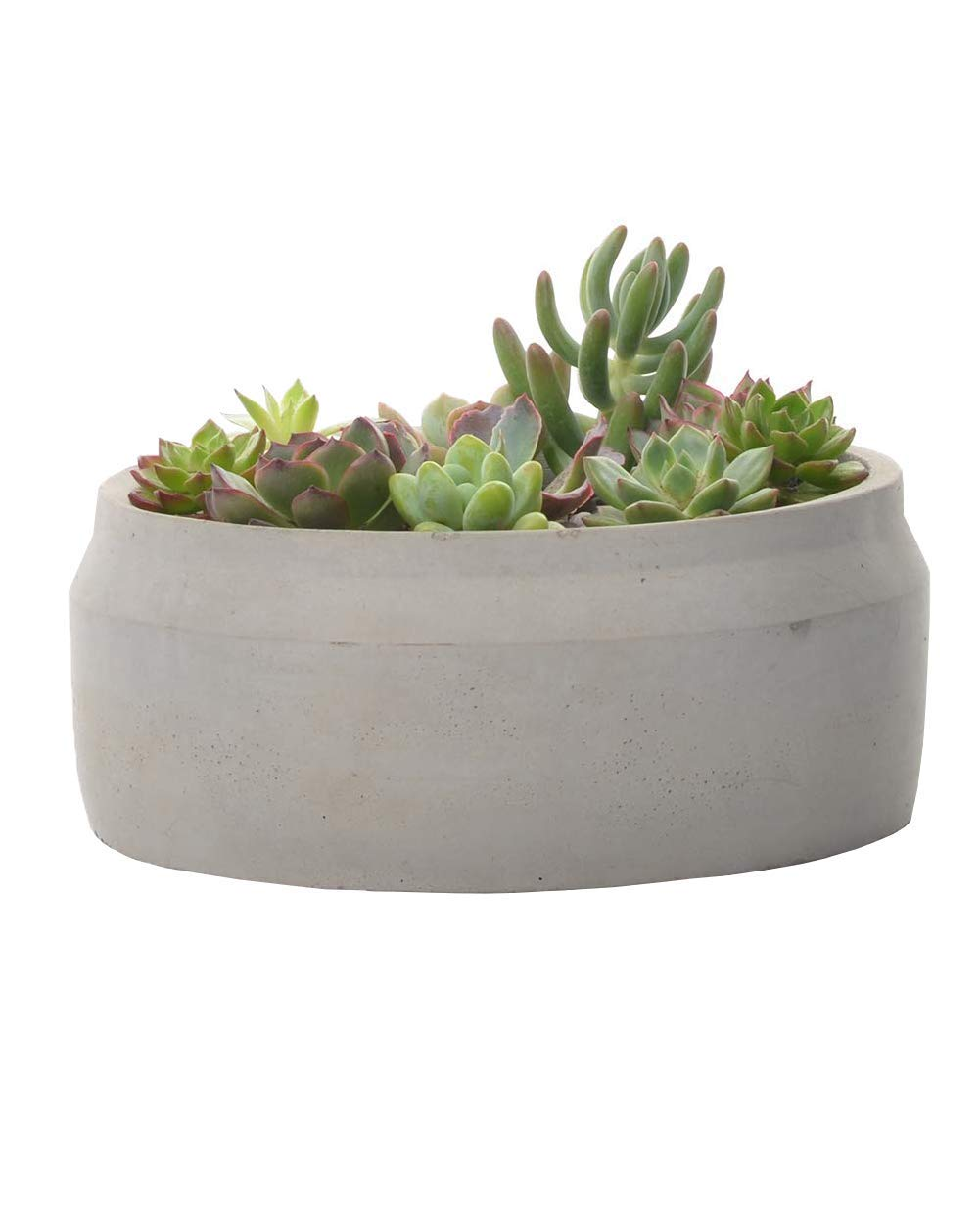 Cement Succulent Planter Pot Indoor Outdoor Decorative with Drainage Round Ceramic Rustic Flower Pots for Home Garden 7 , Grey