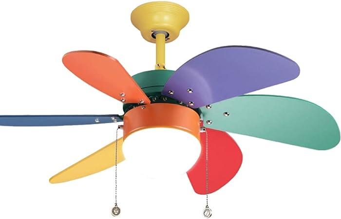 JSY Colorido Ventilador de Techo pequeño luz Simple Ventilador ...