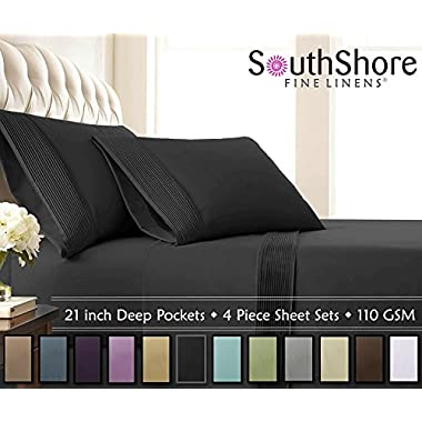 Southshore Fine Linens - 4 Piece - Extra Deep Pocket Pleated Sheet Set , QUEEN , BLACK