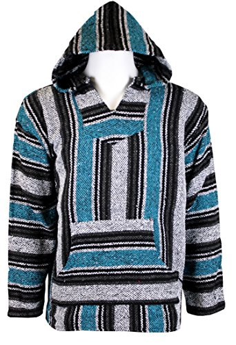 Striped Woven Baja Jacket Coat Hoodie (Turquoise, ()