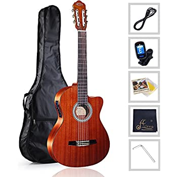 stagg full size classical cutaway acoustic electric guitar natural musical. Black Bedroom Furniture Sets. Home Design Ideas
