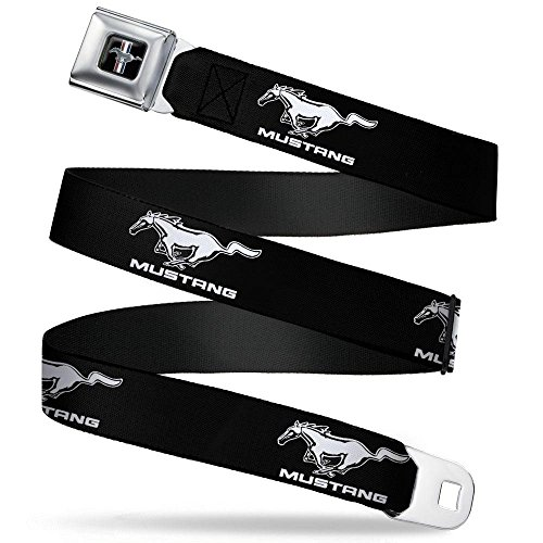 Mustang Seat Ford Belt Belt (Buckle-Down Seatbelt Belt - Ford Mustang Black/White Logo REPEAT - 1.0
