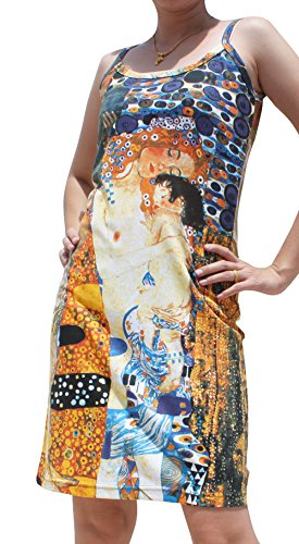 Raan Pah Muang RaanPahMuang Gustav Klimt Mother and Child Spaghetti Strap Dress, Small