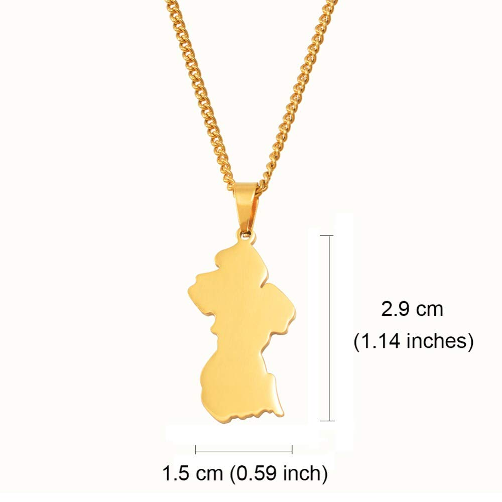 Fasmodel-Map of Guyana Pendant Necklaces Women Girls Gold Color /& Stainless Steel Guayana Jewelry Republic of Guyana #062421 60cm