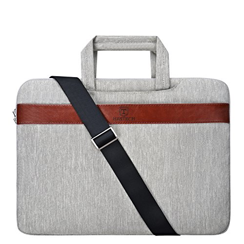 HESTECH Polyester Fabric Sleeve Case Cover Laptop Shoulder Briefcase Bag for 14-15.6 Inch MacBook Pro, Ultrabook Netbook Tablet, Gray