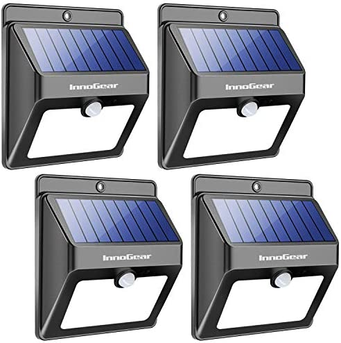 InnoGear Upgraded Solar Lights 22 LED Outdoor Waterproof Motion Sensor Post Security Night Light for Patio Deck Yard Garden Auto On Off, Pack of 4