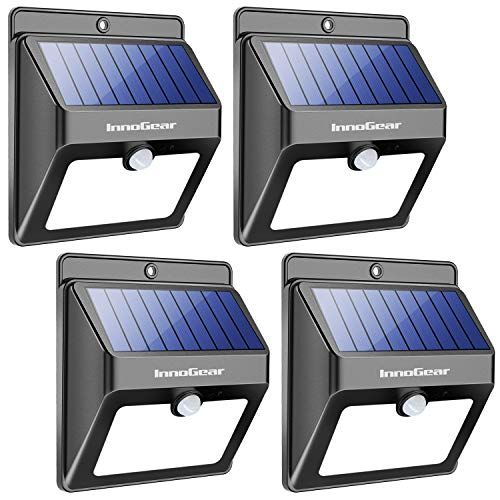(InnoGear Upgraded Solar Lights 22 LED Outdoor Waterproof Motion Sensor Post Security Night Light for Patio Deck Yard Garden Auto On/Off, Pack of 4)