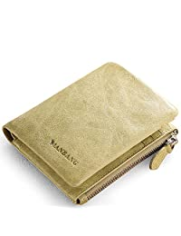 Women's Compact Wax Genuine Leather Bifold Wallet Green