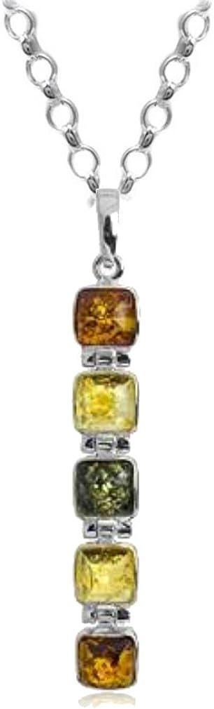 Noda colgante de plata de ley con ámbares multicolores Cubículo de piedras y cadena 46 cm