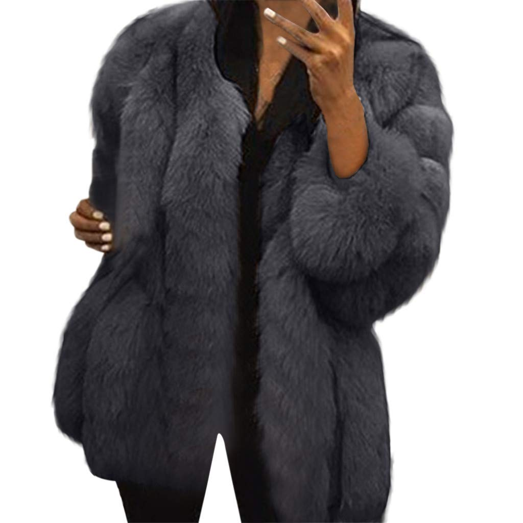 Shusuen Winter 2019 Women Long Trench Coat Faux Fur Loose Parka Jacket Outerwear Dark Gray by Shusuen
