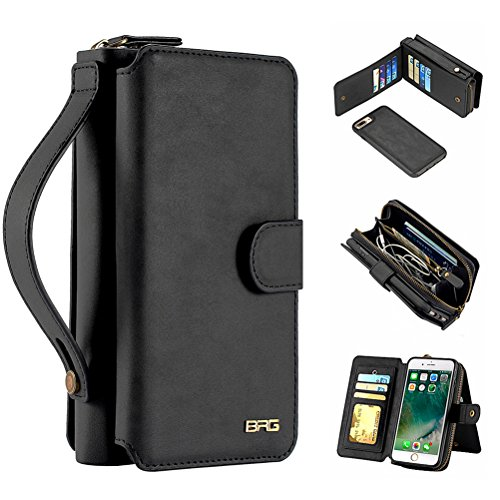 Strap Detachable Zipper (iPhone 8 Case, iPhone 7 Case, Magnetic Detachable Wallet PU Leather Mirror Case Protective Flip Folio Cover Zipper Purse Clutch with 11 Card Holder Slot Hand Strap for iPhone 7 / 8 4.7 inch - Black)