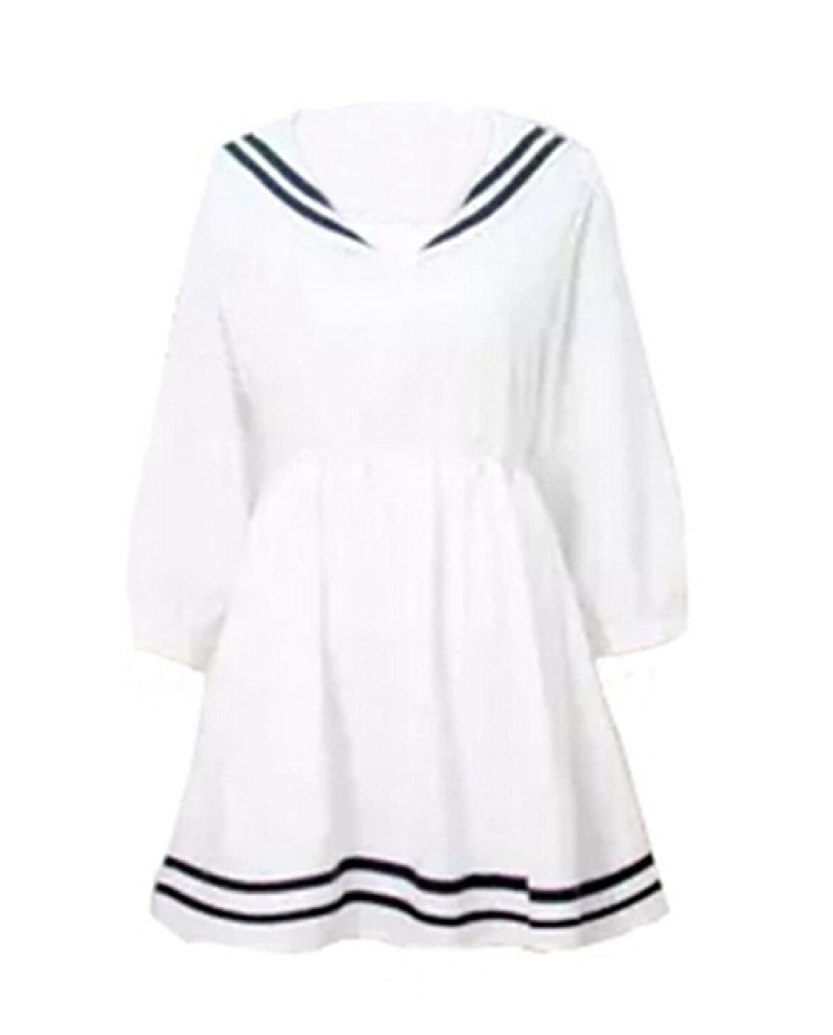 Vintage Style Children's Clothing: Girls, Boys, Baby, Toddler ROLECOS Girl Japanese Sailor Collar Lolita School Uniform Long Sleeves Dresses White $34.99 AT vintagedancer.com