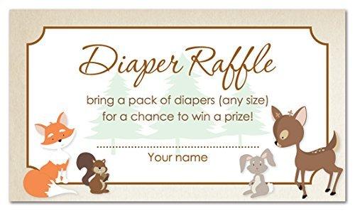 48 Woodland Animals Diaper Raffle Cards